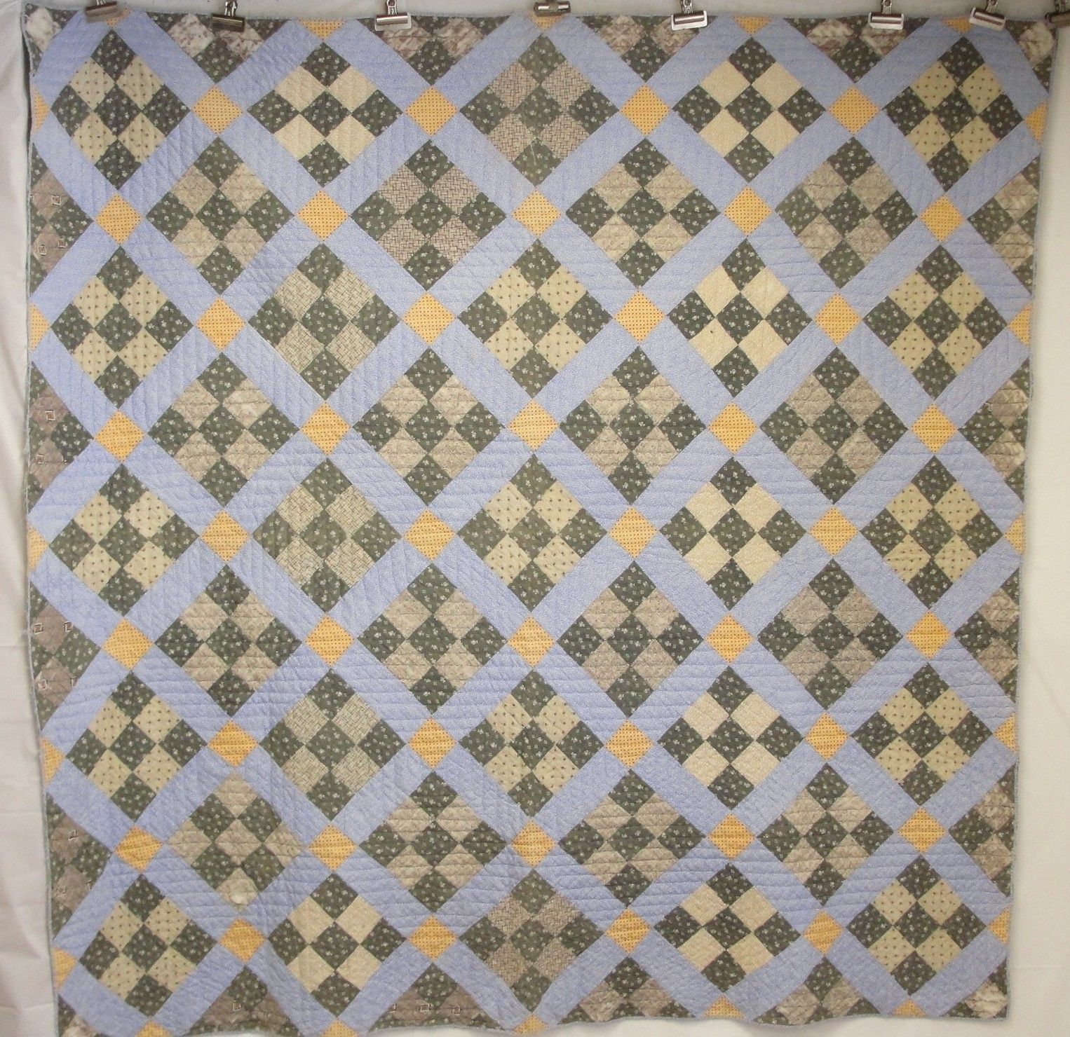 Antique Century Maine Hand Sched Nine Patch Geometric Patchwork Calico Quilt Blue Green Tan Yellow