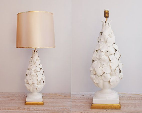 Awesome Vintage 1950s Ceramic Lamp   White Floral Manises Table Lamp   Huge Mid  Century Spanish Home Decor Lighting