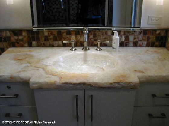 Great Custom Integral Sinks And Countertops In White Onyx