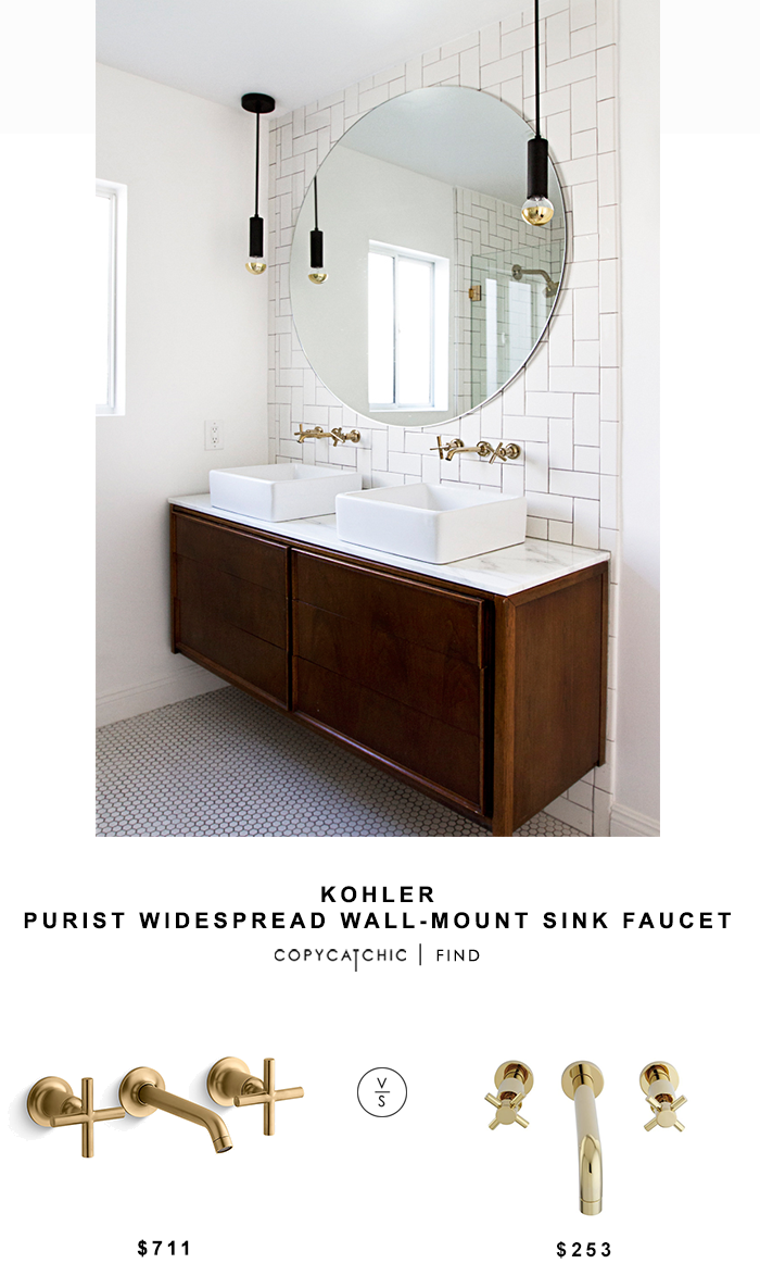 Kohler Purist Widespread Wall Mount Sink Faucet Mid Century