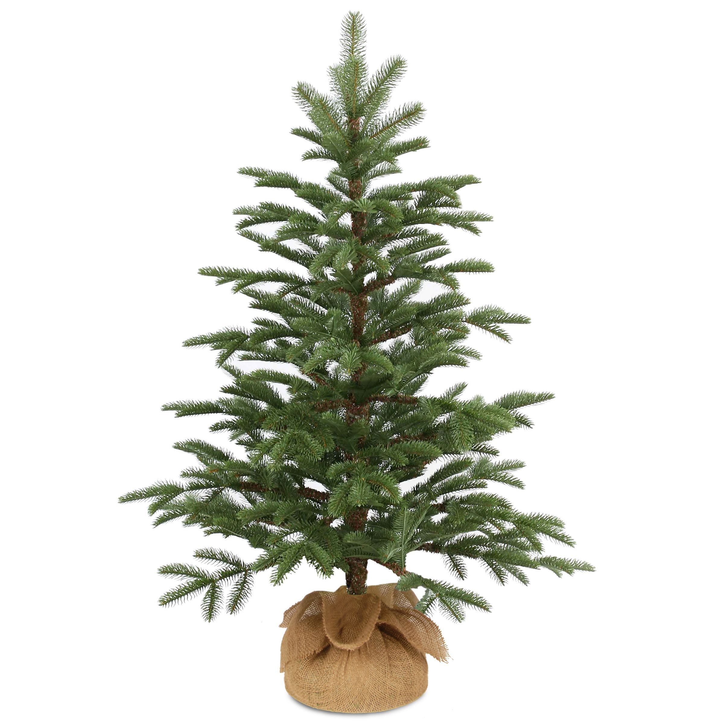 Norwegian Seedling 3-feet Small Artificial Tree With Burlap ...
