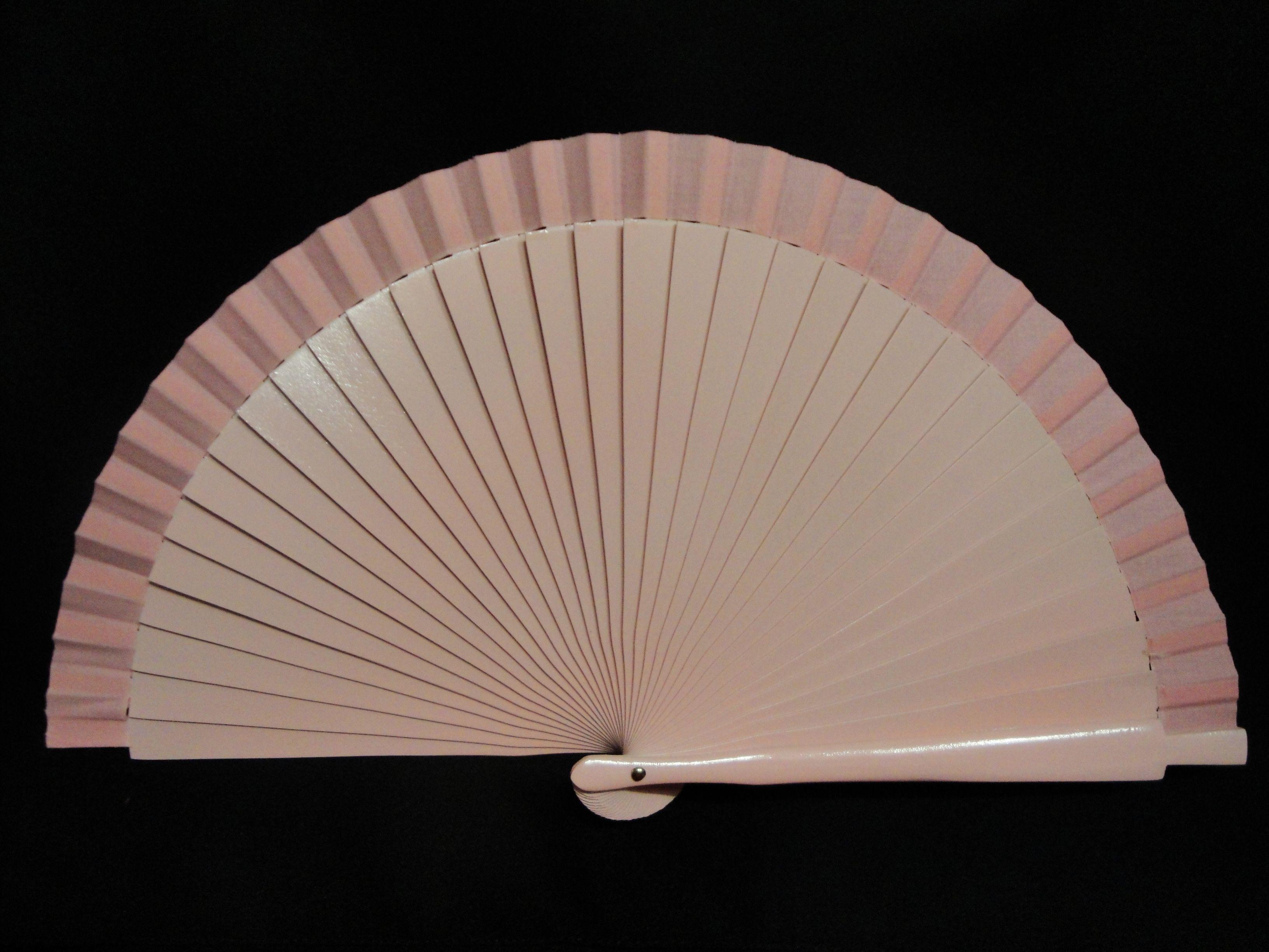 Abanico de madera liso. Color: Rosa. Medida: 23 cm.