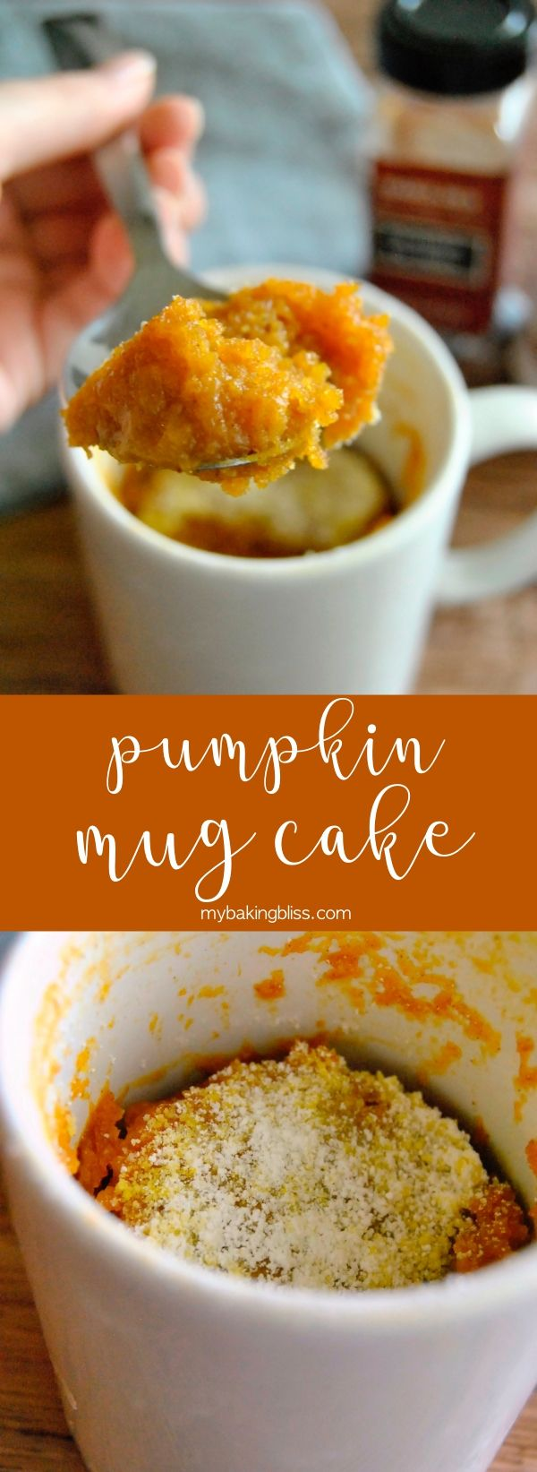 Pumpkin Mug Cake - the PERFECT recipe for leftover canned pumpkin. This easy microwave mug cake comes together in under five minutes and is full of fall flavors! | mybakingbliss.com #pumpkin #mugcake #falldesserts #mugcake
