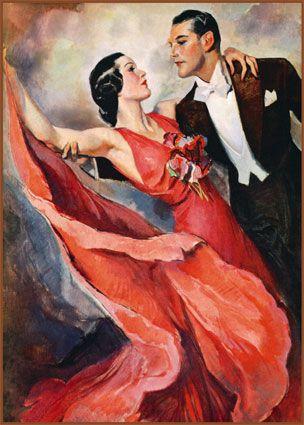 Valentine's day-Vintage Print of Couple Tango Dancing