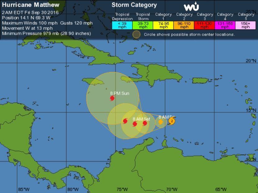 La tormenta tropical Matthew se convierte en huracán de categoría 2 - http://www.meteorologiaenred.com/la-tormenta-tropical-matthew-se-convierte-en-huracan-de-categoria-2.html