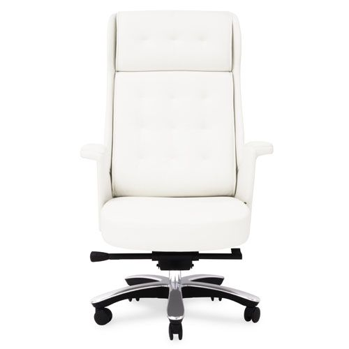 Rockefeller Leather Executive Chair White Chic Office Chair Desk Chair Comfy Vintage Office Chair