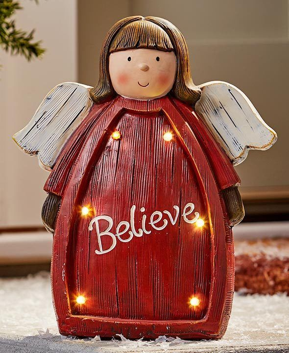 Details about ANGEL BELIEVE LIGHTED CHRISTMAS STATUE YARD LAWN PORCH
