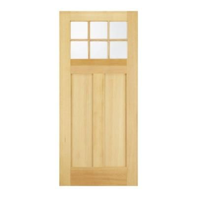 JELD-WEN 32 in. x 80 in. 6 Lite Unfinished Wood Front Door Slab ...