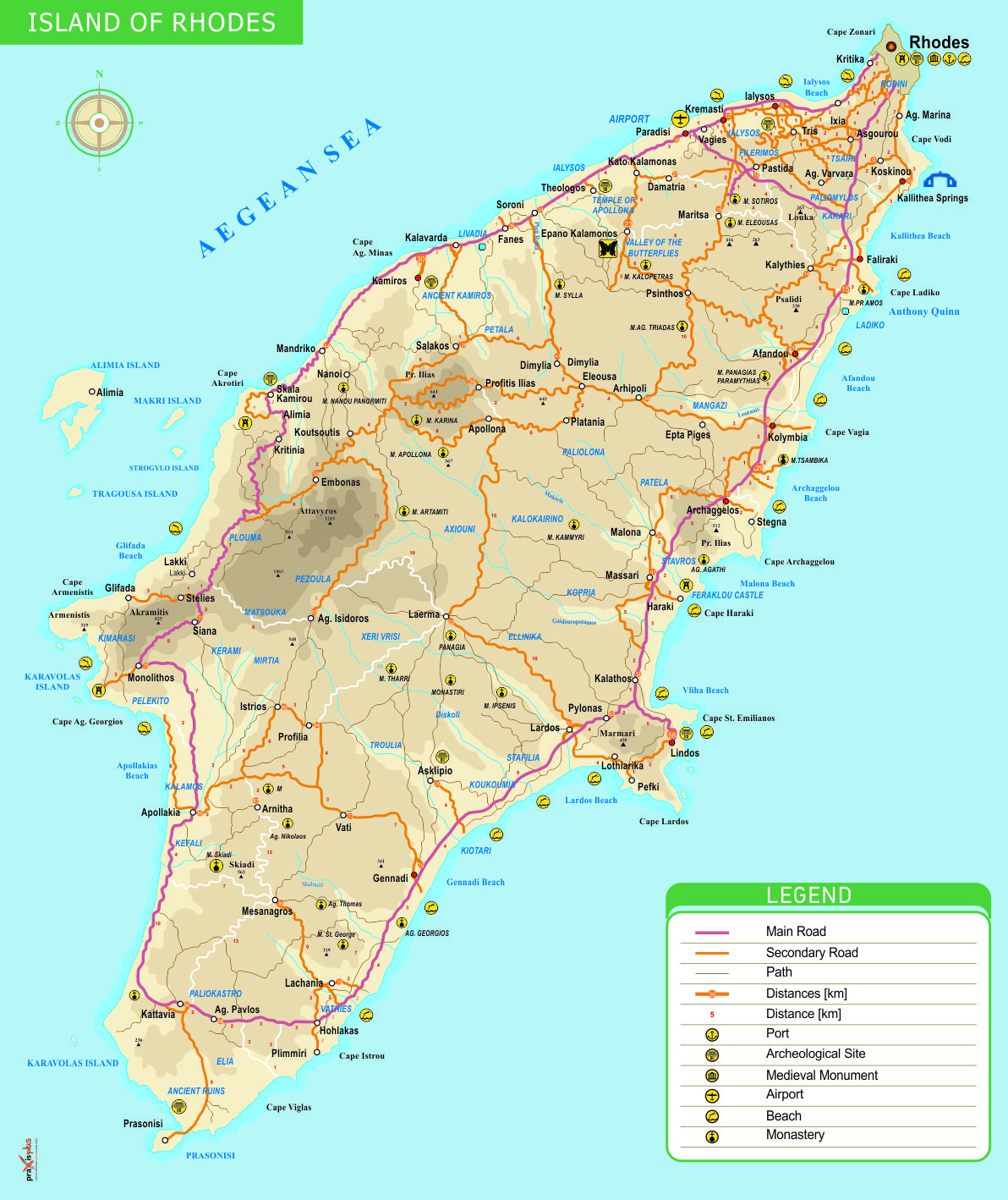 Rhodes Island Map Greece Rhodos