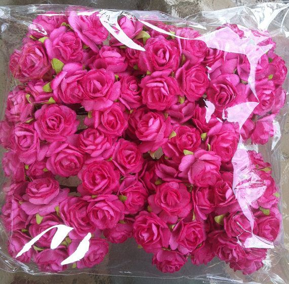 100 Wholesale Hot Pink Mulberry Roses Paper Flowers 0 6 Inch Bulk