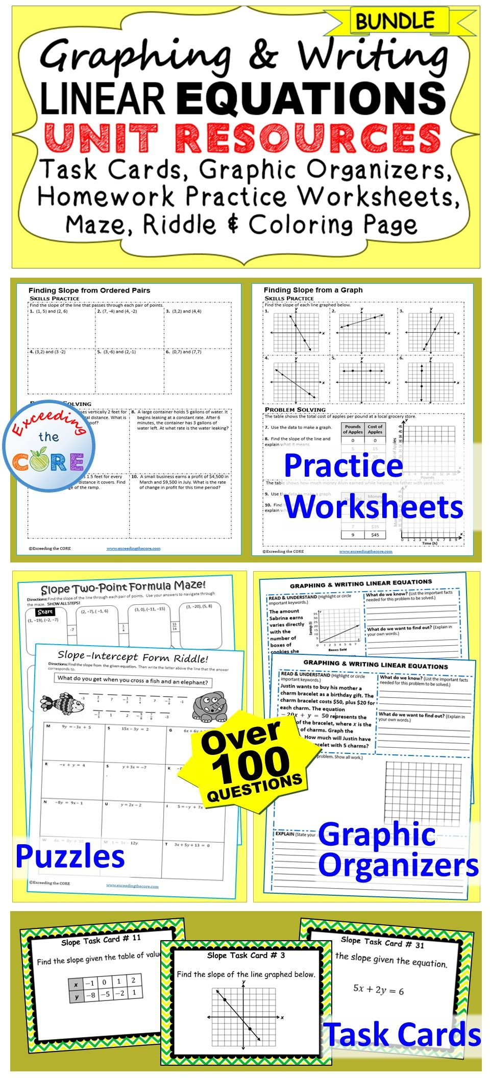 GRAPHING & WRITING LINEAR EQUATIONS + SLOPE Bundle Math