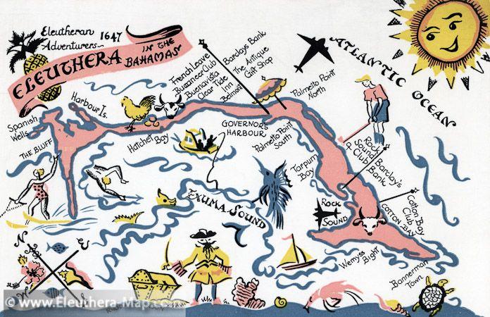 Vintage Map Of Eleuthera Love The Colors Eleuthera Eleuthera