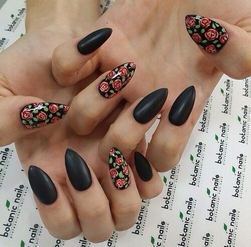 Tumblr Almond Rose Desgin Almond Nails Designs Floral Nails Rose Nails