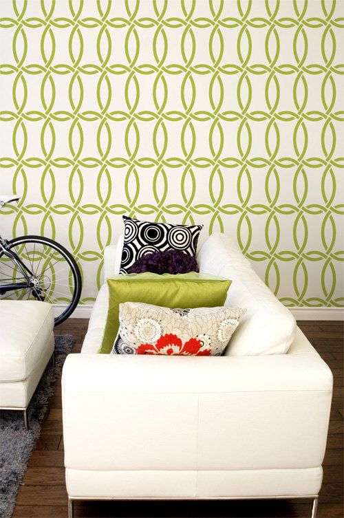 Large Modern Wall Stencil Graphic Pattern-Chain Link Allover Stencil ...