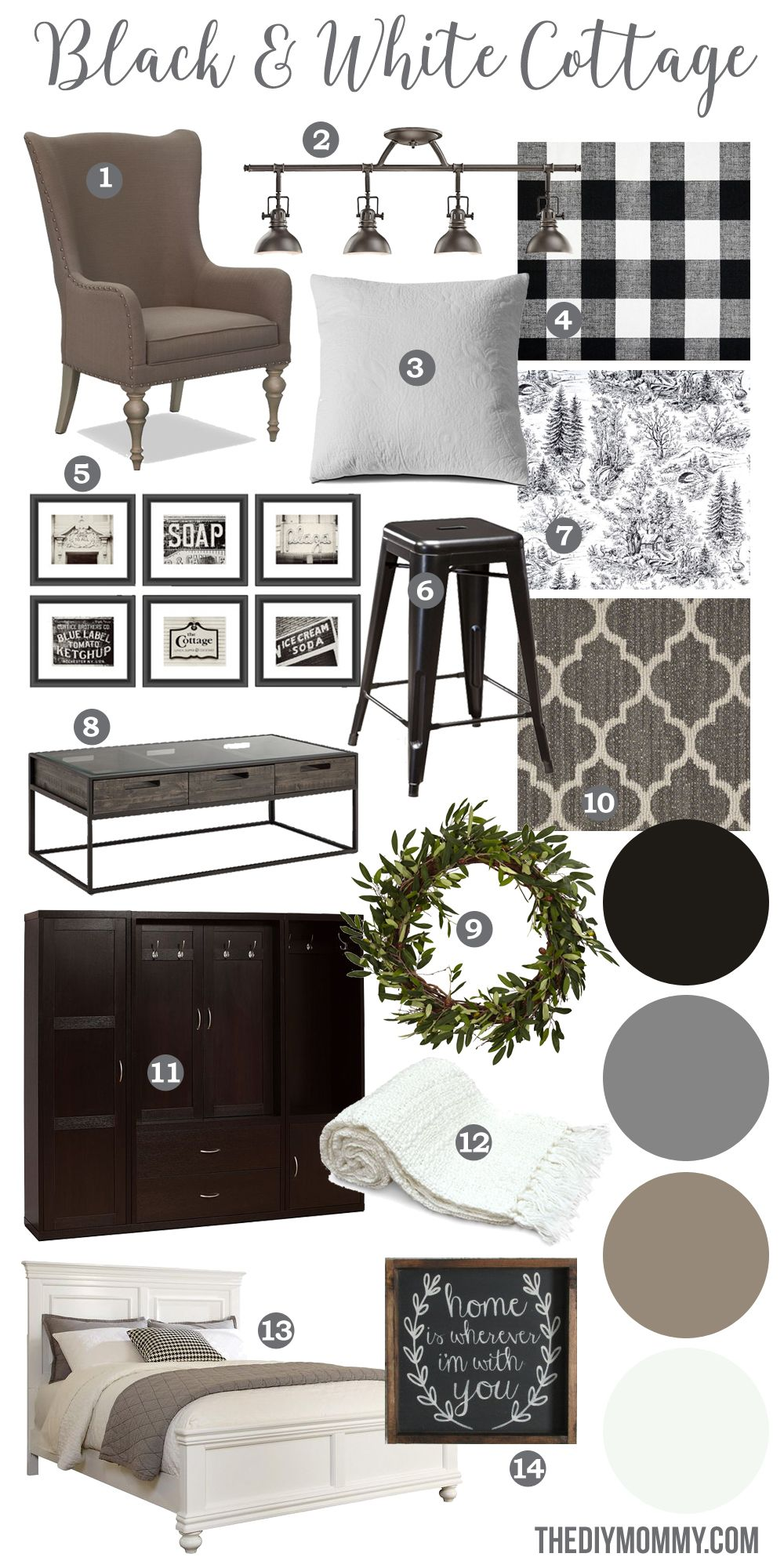 A Black White Farmhouse Country Cottage Decor Mood Board