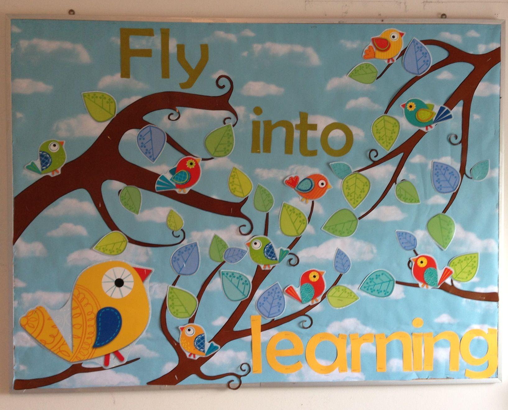 Classroom Ideas With Birds ~ Homeschool classroom bulletin board boho birds school