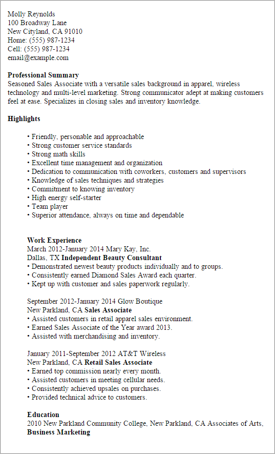 Myperfectresume Com Professional Sales Associate Templates To Showcase Your Talent C7ebee92 Resumesam Job Resume Samples Sales Resume Examples Resume Examples