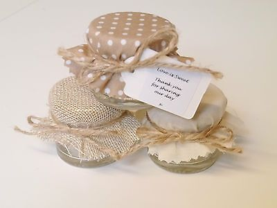 Shabby Chic 10 100 Hessian Polka Dot Personalised Mini Jam Jars Wedding Favours