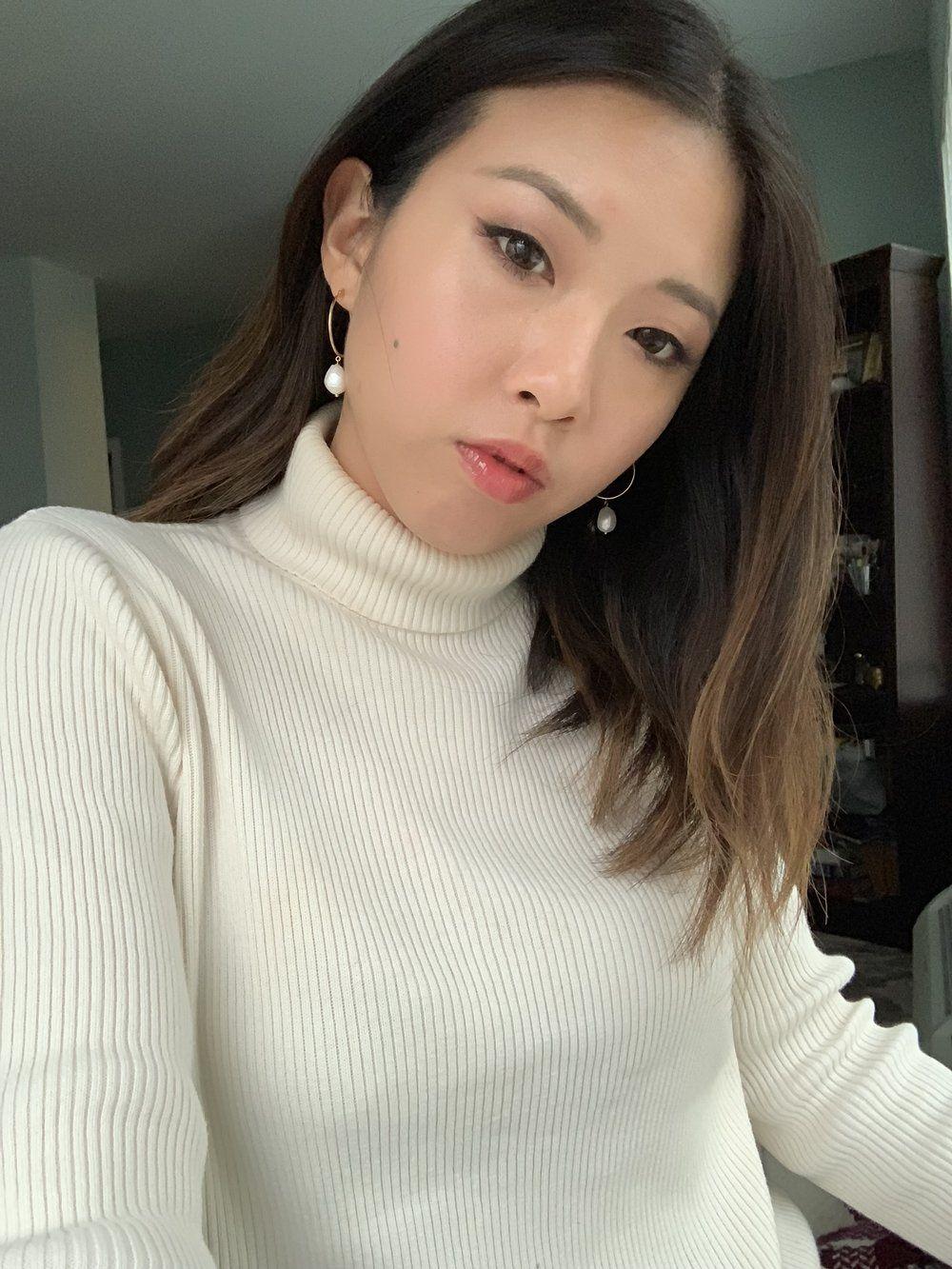 Earrings Mejuri Organic Pearl Hoop Earrings Turtleneck