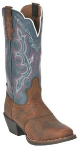 Women cowboy boot with blue upper