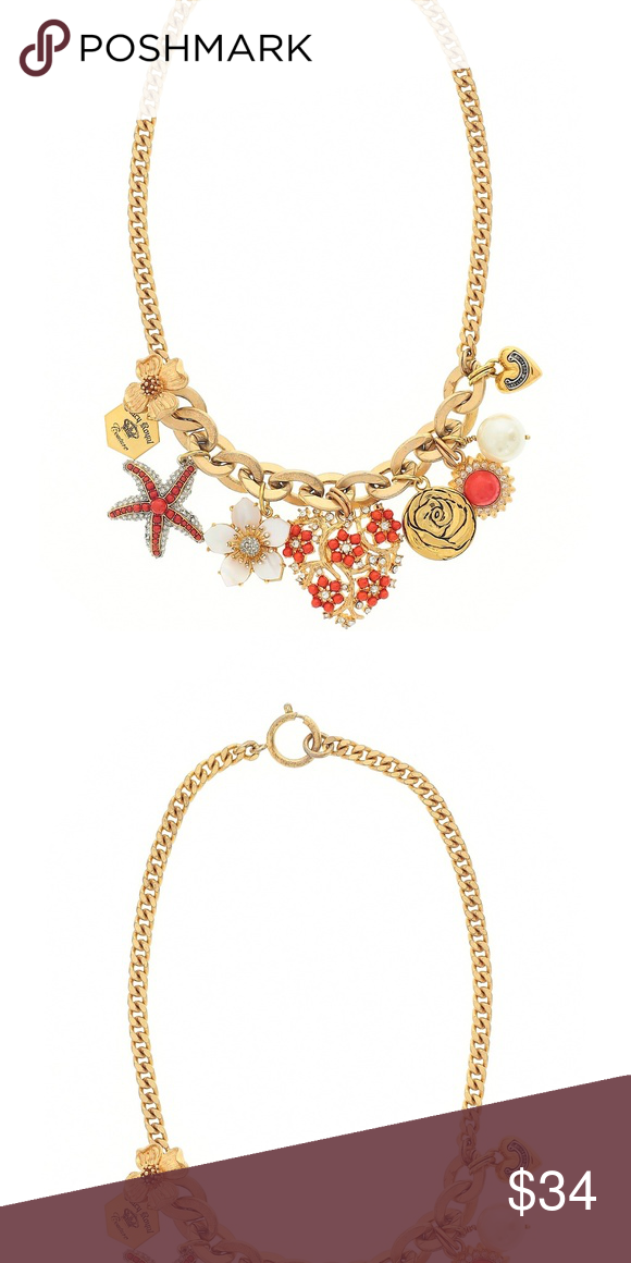Juicy Couture Heart Charm Statement Necklace Sea shore themed chunky gold  tone statement necklace with gold 082b1bb0516b