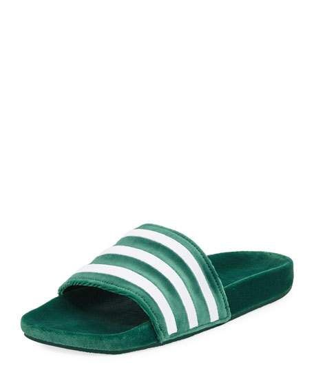 cheap for discount 15533 59ea2 Adidas Mens Adilette Striped Velvet Slide Sandal, Green