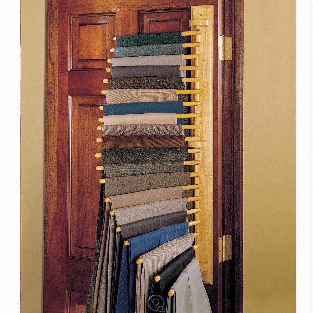 20 Pair Pants Hanging Rack Closet Organizer Oak Wood Mounts To Wall Or Door  #Hammacher $45.00