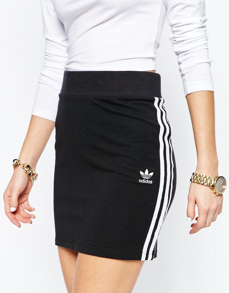 sports shoes d0b18 0d88f Image 3 of adidas Originals Adicolour Mini Body-Conscious Skirt With 3  Stripe Logo