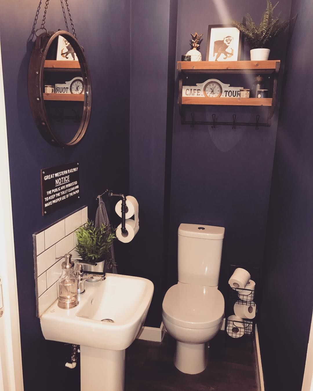 """Helen ��️'s Instagram photo: """"Downstairs loo, potentially bored of it already?! #cornerofmyhome #styleitdark #myhomevibe #persimmonhomes #styleinspo #downstairsloo…"""""""