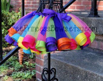 Candy Land Rainbow Ribbon Birthday Tutu by ThreePrincessBows
