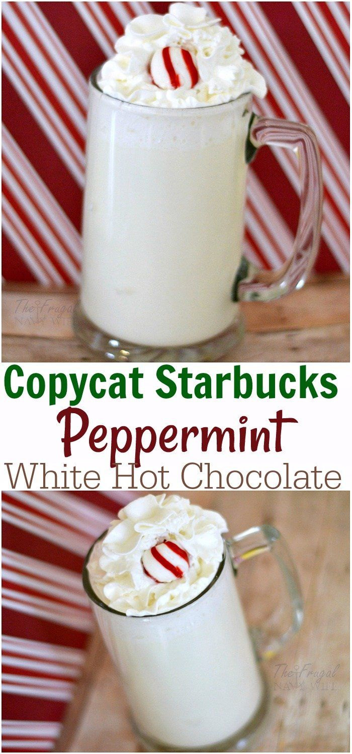Copycat Starbucks Peppermint White Hot Chocolate Recipe #hotchocolaterecipe