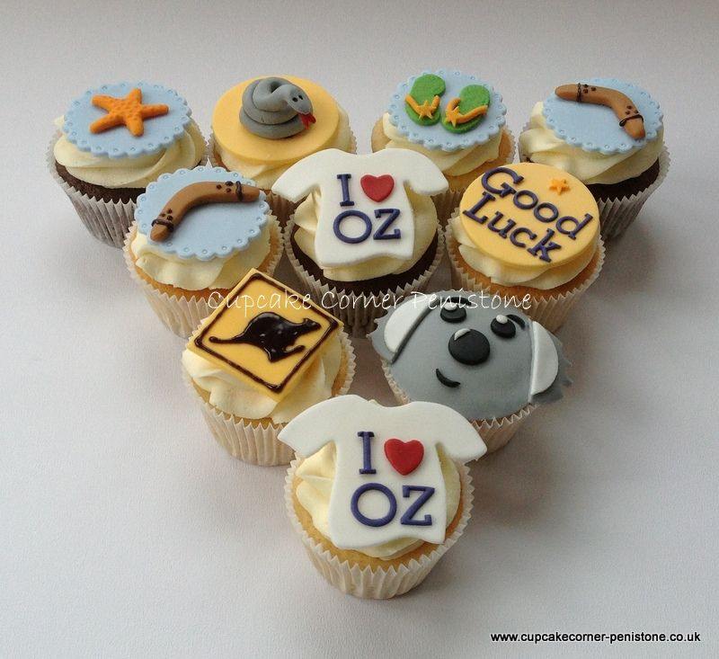 Just A Few Of The Chocolate And Vanilla Australian Themed Cupcakes