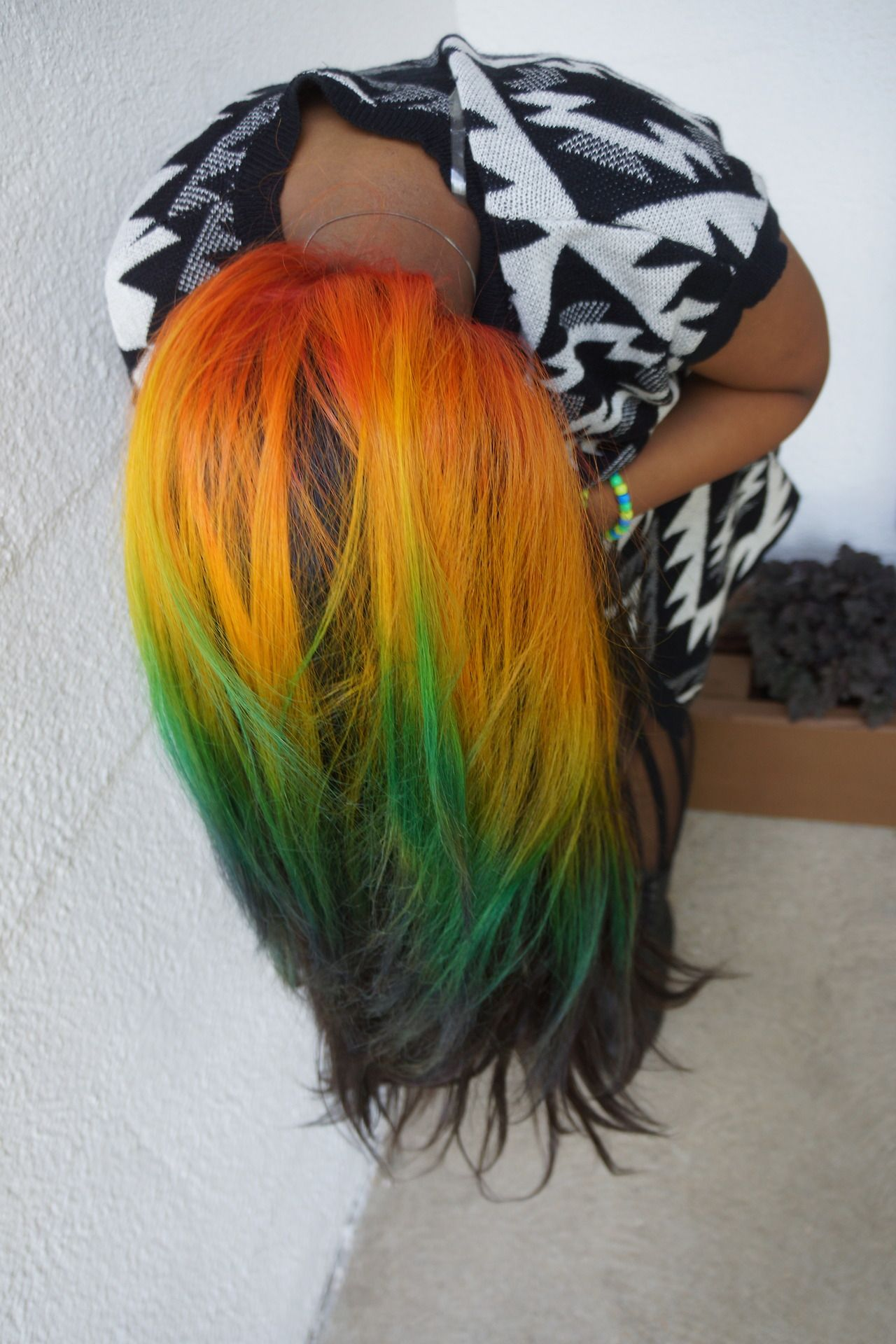 Red Orange Yellow Green And Black Hair Hair Color Crazy Hair Color Hair