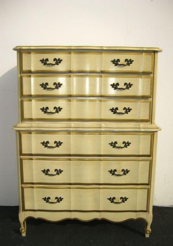 Vintage French Provincial Kent Coffey Yellow Gold Tallboy Dresser