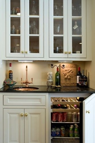 Like Sink Is To The Side Not Centered Fridge Is A Built In Behind A Cabinet Door So It Isn T Vi Small Bars For Home Kitchen Beverage Center Wet Bar Designs