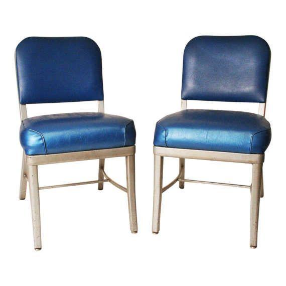 Vintage Chair Pair Metal Desk Office Cole Steel Machine Age Tanker Blue Loft 50s 60s