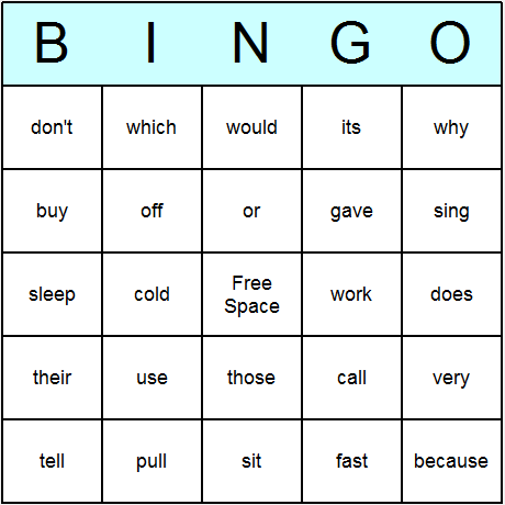 Free Sight Word Bingo Templates | Dolch Sight Words 2nd Grade Bingo ...