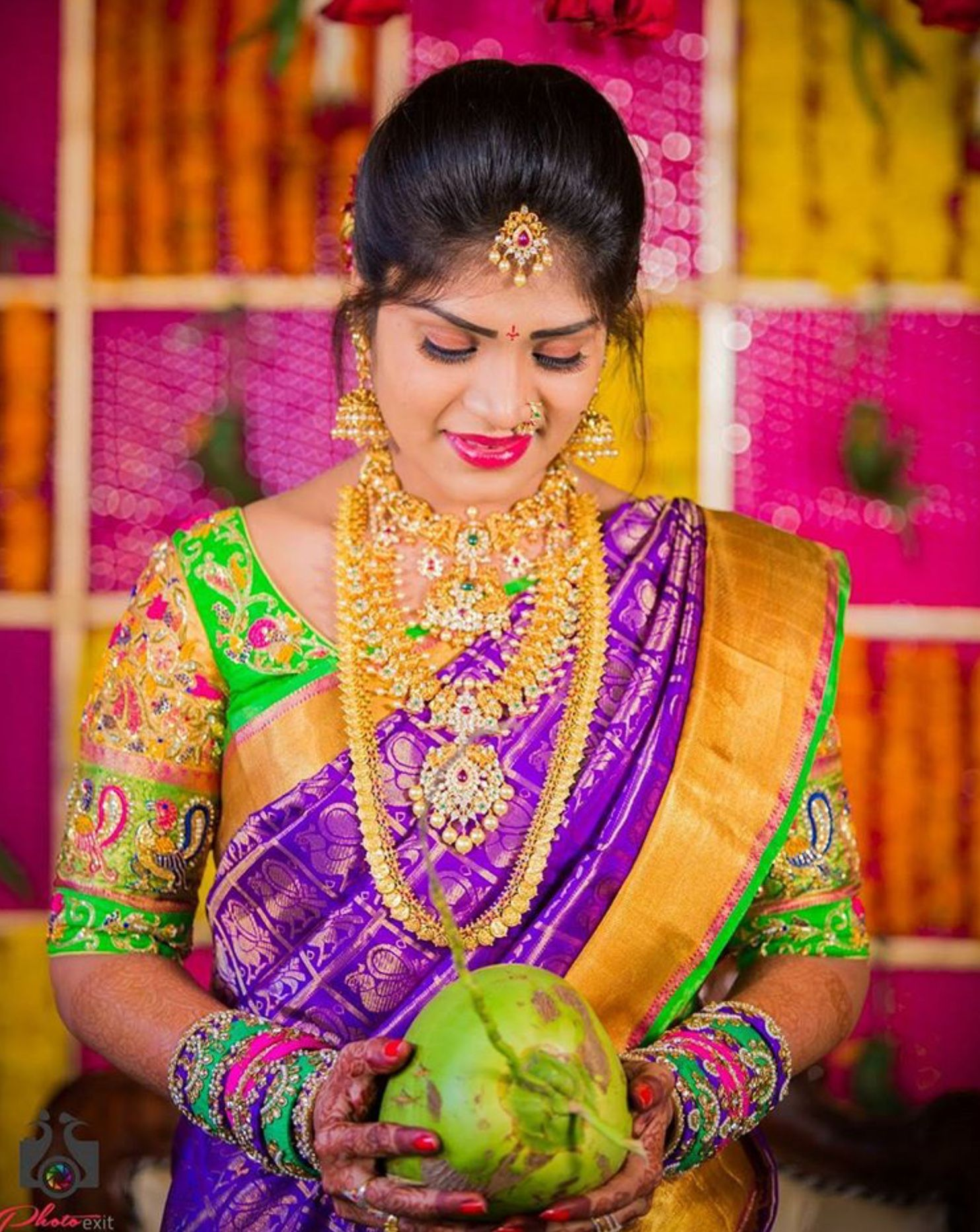 Purple kanchi saree brides pinterest