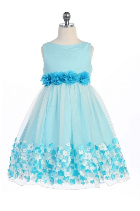18e8421ae2c Aqua+Mesh+Flower+Girl+Dress+with+Taffeta+Flowers +KD-332-AQ+on+www.GirlsDressLine.Com