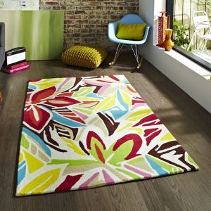 Think Rugs Hong Kong HK 680 Rug in Cream and Multicolour