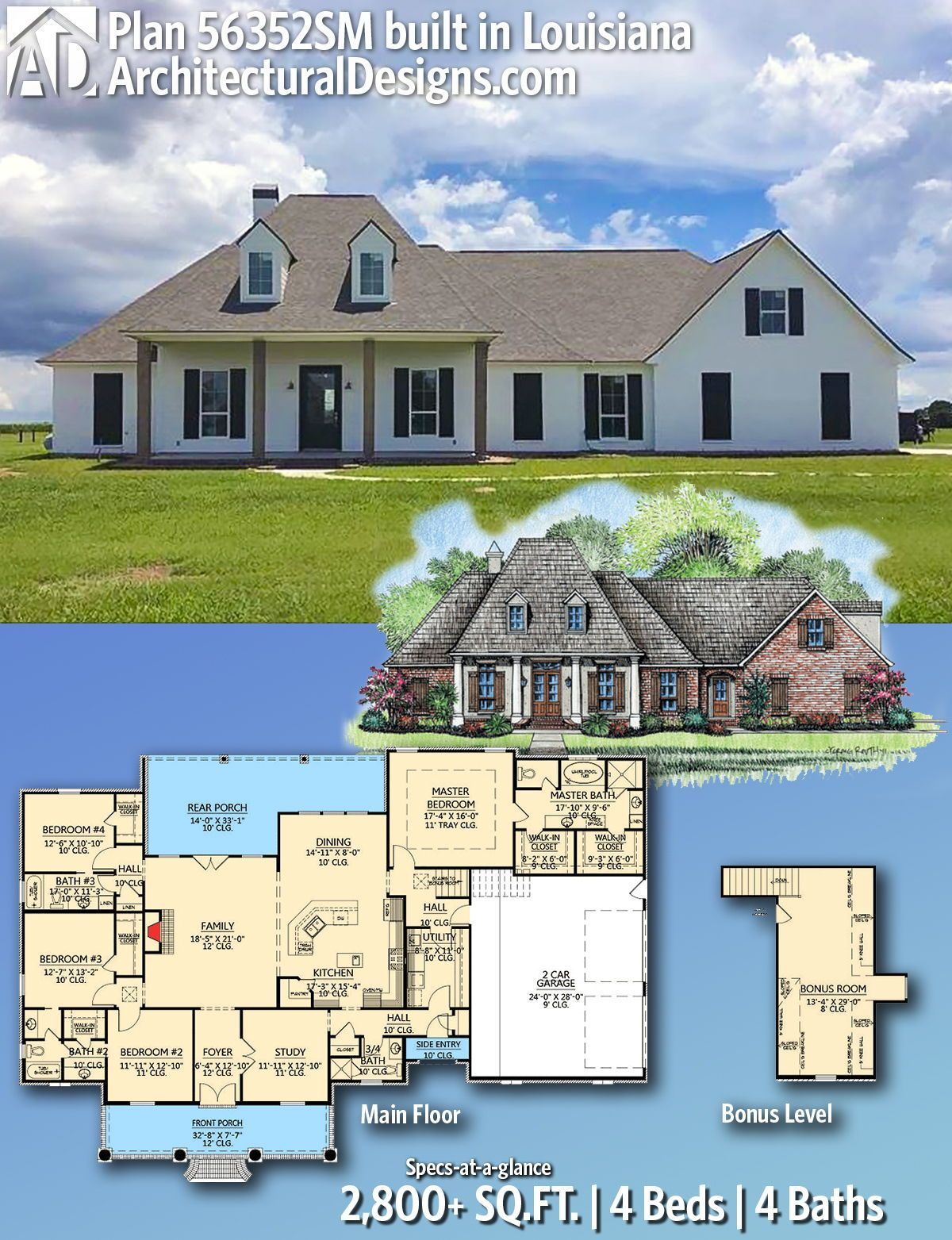 Plan 56352sm French Country Home Plan With Bonus Room Country House Plans Acadian House Plans Southern House Plans