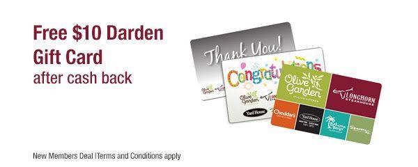 Free Darden Gift Card After Cash Back Exp 10 12 18 Deals