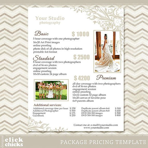 Photography Package Pricing List Template - Wedding Packages List
