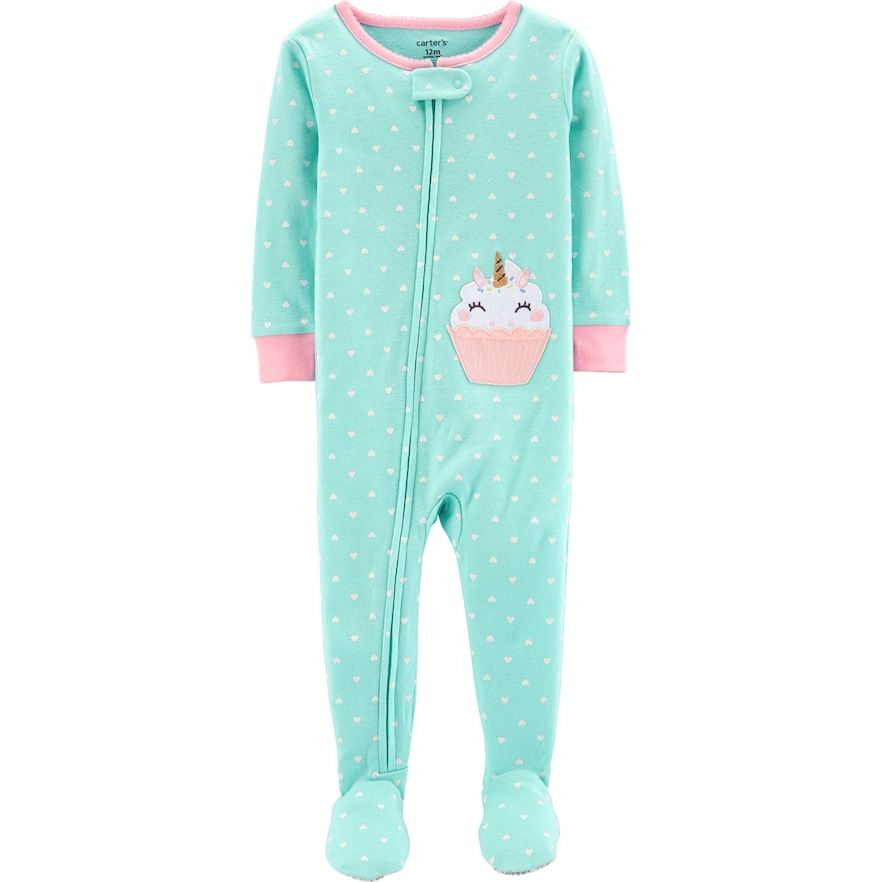 55ce1b22f Baby Girl Carter's Unicorn Cupcake Footed Pajamas, Size: 24 Months ...
