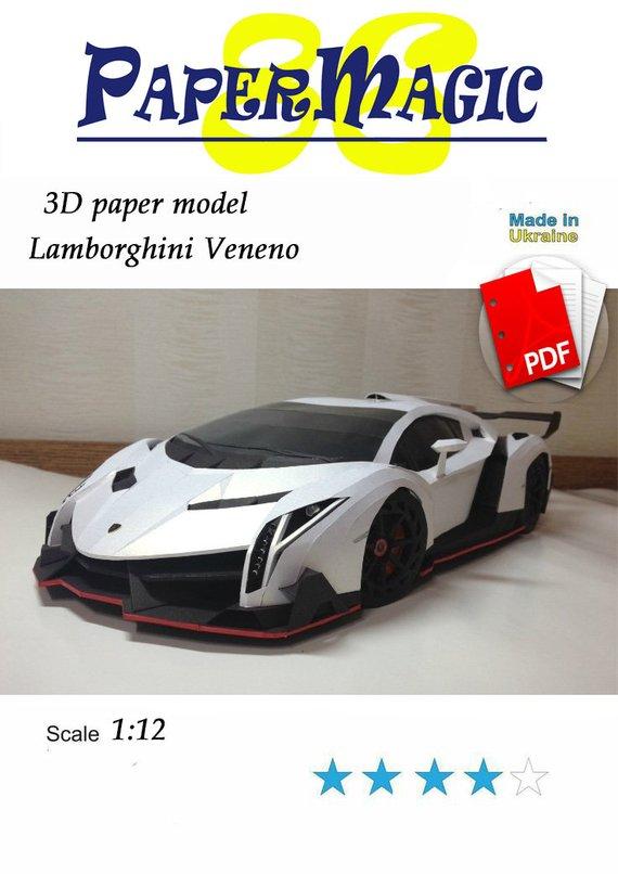 Paper Model Kit Lamborghini Veneno Papercraft 3d Paper Craft Model