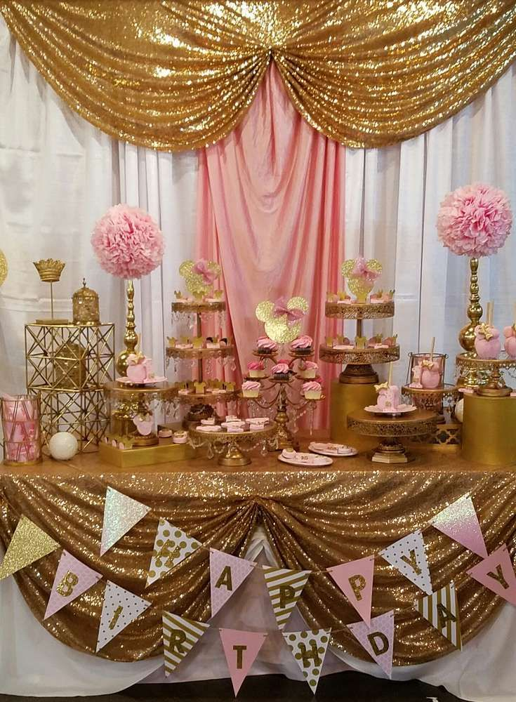 Pink And Gold Minnie Mouse Celebration Birthday Party Ideas Gold