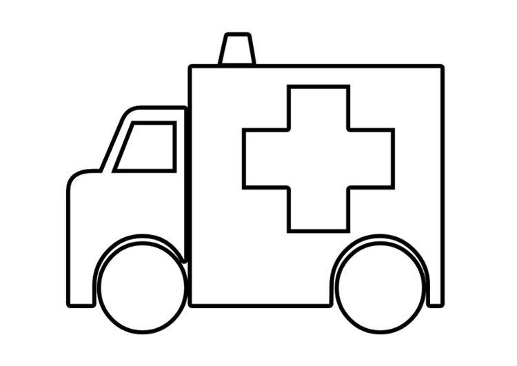 Coloring page ambulance | ziek zijn | Pinterest | Salud