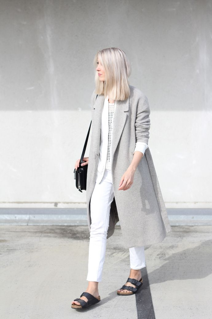 0402c5700b5 Joyce Croonen of My Dubio - gray coat and black birks. minimal grey look  with birkenstocks #style #fashion