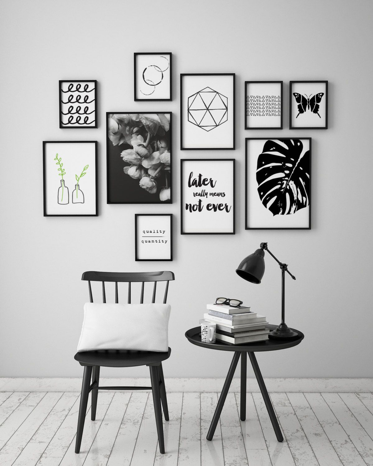 Abstract Triangles Black And White Instant Download Art Etsy