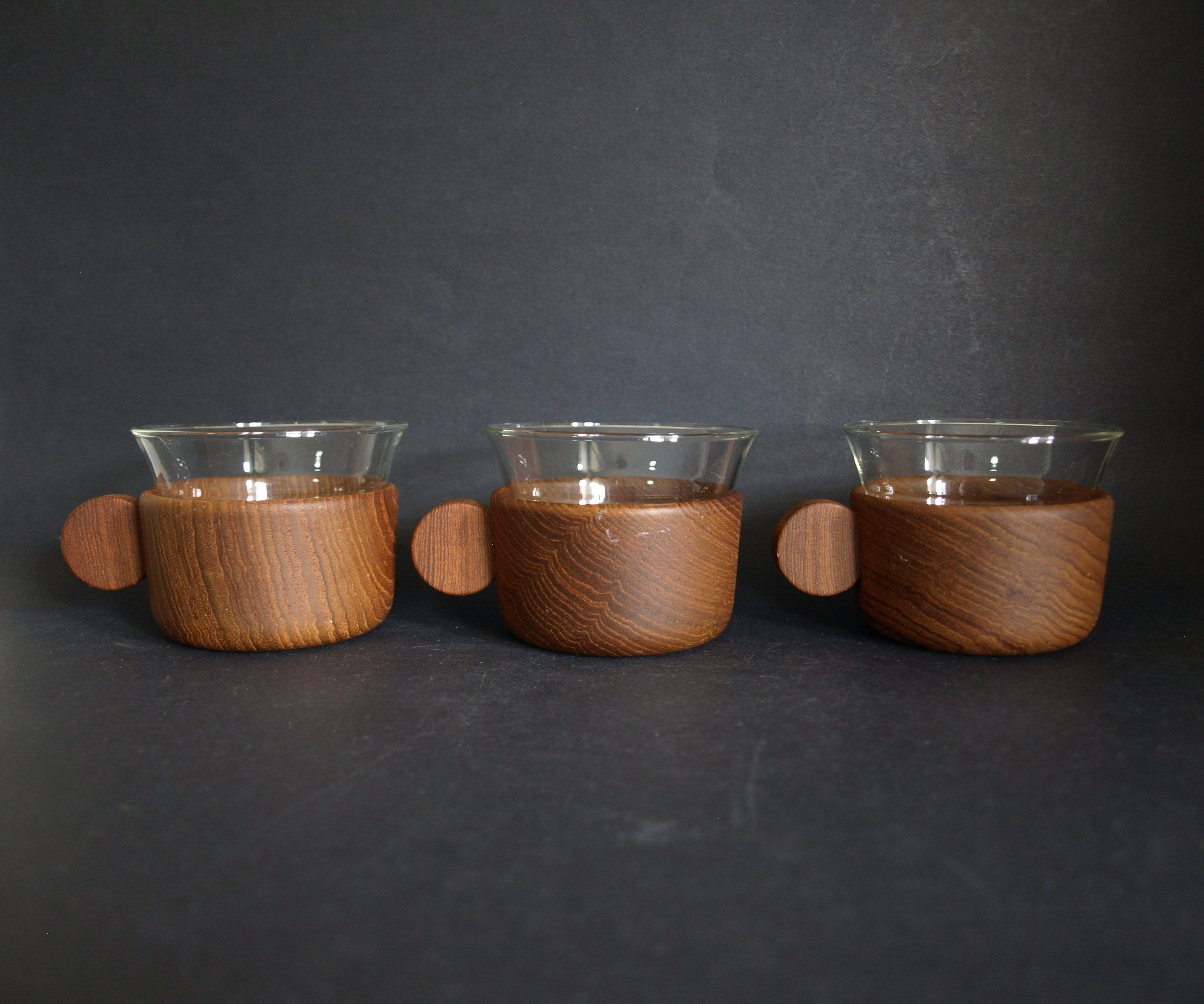 Schott Mainz Jena Glas Mod Wooden Glass Cups Mid Century Modern Shot Glasses Glass Cup Schott